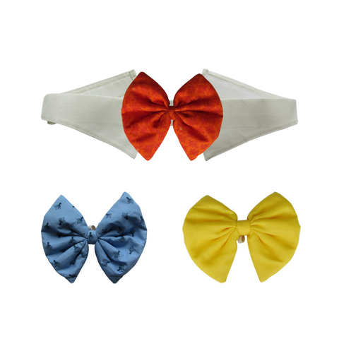 Yellow, Printed Blue and Blended Cotton Orange Bows with Collar