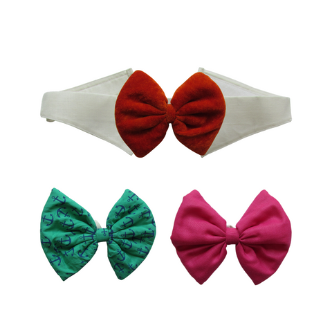 Pink, Printed Green and Velvet Orange Bows with Collar