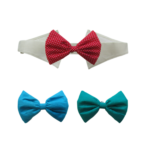 Marine Green, Heaven Blue and Red & White Polka Dots Bows with Collar