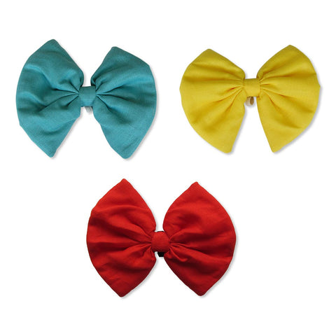 Turquoise, Yellow and Red Bows