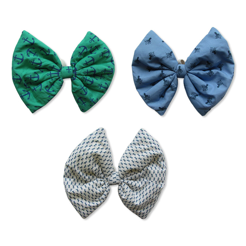 Printed Blue, Green and White Bows
