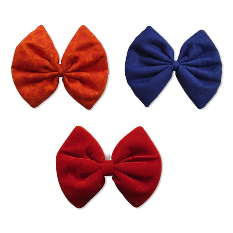 Blended Cotton Orange, Navy Blue and Velvet Red Bows