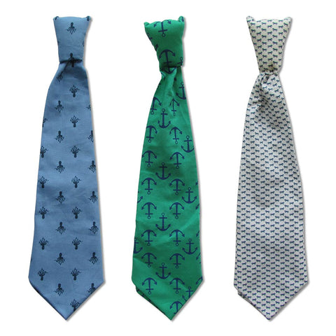 Printed Blue, Green and White Ties