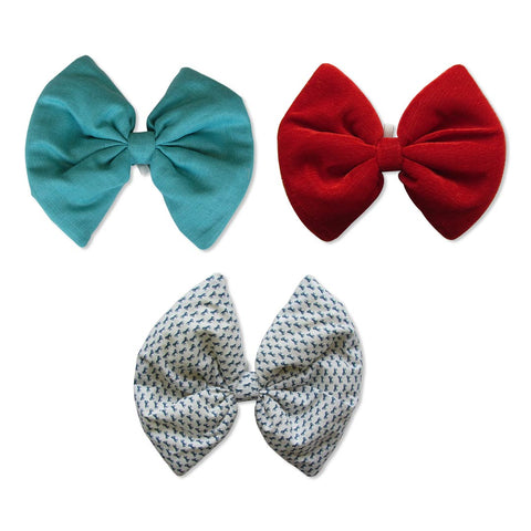 Turquoise, Printed White and Velvet Red Bows
