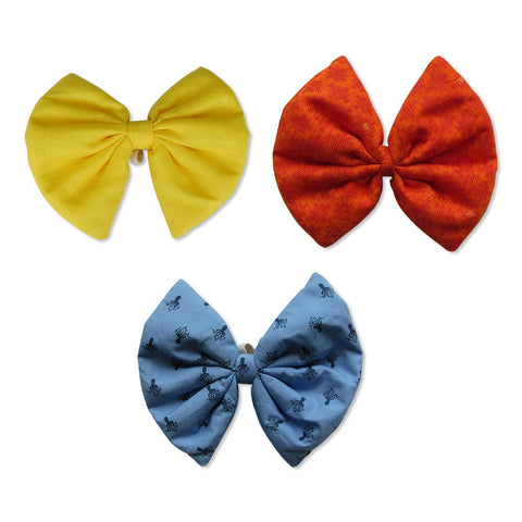 Yellow, Printed Blue and Blended Cotton Orange Bows