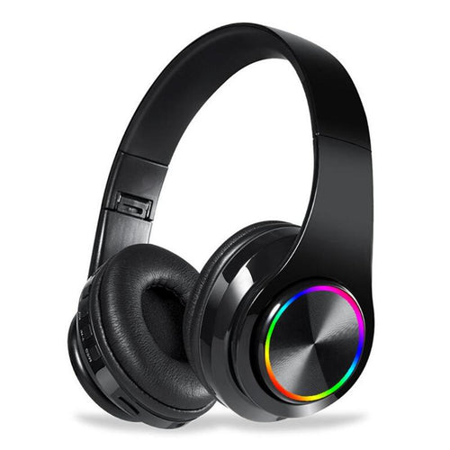 Wireless Bluetooth headphones luminous deep bass stereo sports headphones with microphone card slot Rainbow LED fashion headphones - Linden & Burk