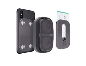 POW Mo Expandable Wireless Speaker + Universal Click Mount & Wallet, Compatible with iPhone & Android Devices - Linden & Burk
