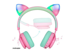 Cat Ear LED Light Up Wireless Fold-able Headphones Over Ear with Microphone and Volume Control for iPhone/iPad/Smartphones/Laptop/PC/TV (Pink&Green) - Linden & Burk