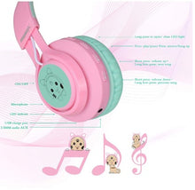 Load image into Gallery viewer, Cat Ear LED Light Up Wireless Fold-able Headphones Over Ear with Microphone and Volume Control for iPhone/iPad/Smartphones/Laptop/PC/TV (Pink&Green) - Linden & Burk