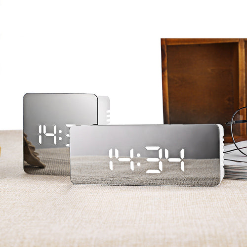 LED Mirror Alarm Clock Digital Snooze Table Clock - Linden & Burk