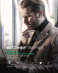 BlitzWolf FYE6 Long Handle bluetooth 5.0 TWS True Wireless Earphone Graphene Digital Display Bilateral Call Headphones Headset - Linden & Burk