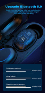 Wireless V5.0 LED Bluetooth Earphone HD Stereo Headphones Sports Waterproof Headsets With Dual Mic 4000mAh Battery Charge Case - Linden & Burk