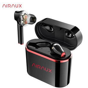 AIRAUX UM5 Earbuds Double Dynamic Earphone Wireless bluetooth Tap Control Bass Sport HiFi Stereo HD Waterproof FYE8 - Linden & Burk