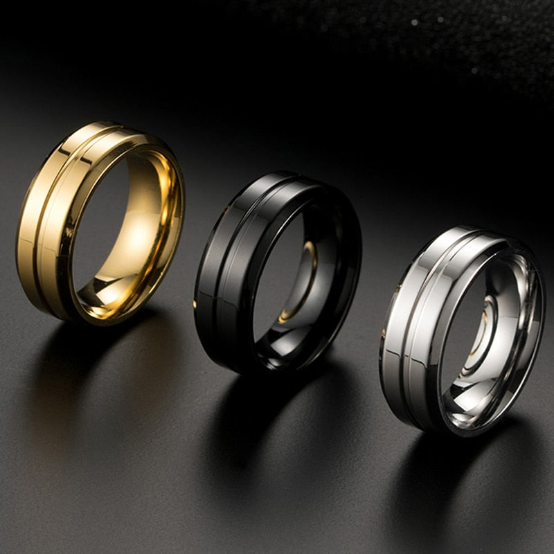 Silver Black Gold Color Rings For Men Quality 8mm Stainless Steel