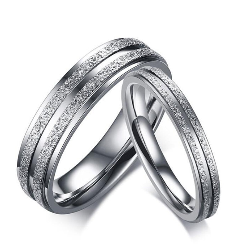 e273ab8649 Silver Color Stainless Steel Couple Ring for Women / Men Double Row Frosted  Rings Titanium Steel