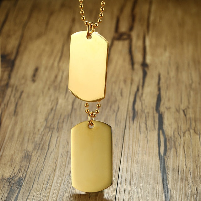 Simple Stainless Steel Double Dog Tag Necklace Pendant Men