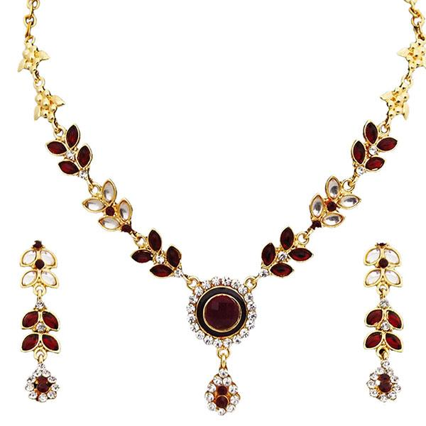 14Fashions Kundan Austrian Stone Gold Plated Necklace Set - 1100101
