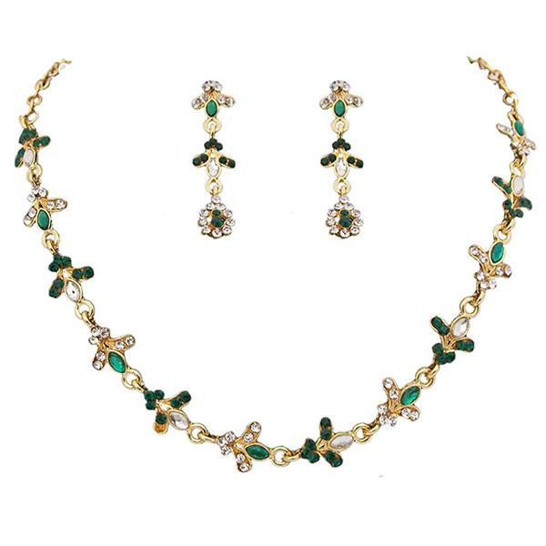14Fashions Green Austrian Stone Gold Plated Necklace Set - 1100221