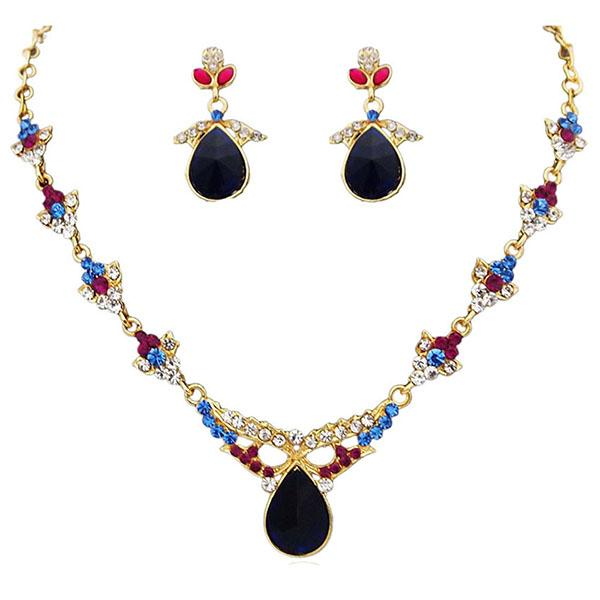 14Fashions Kundan Austrian Stone Gold Plated Necklace Set - 1100222
