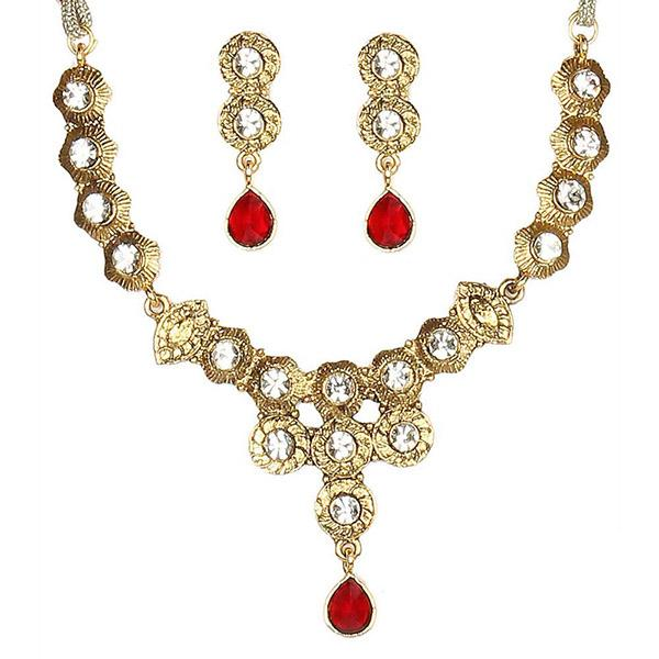 14Fashions Kundan Austrian Stone Gold Plated Necklace Set - 1100401