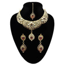 Kriaa Austrian Stone Pearl Necklace Set With Maang Tikka