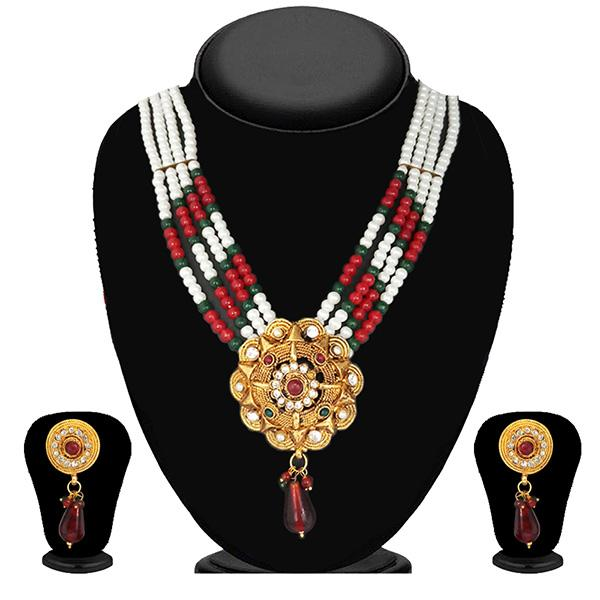 Soha Fashion Maroon And Green Pearl Stone Necklace Set