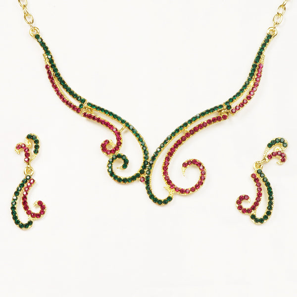 14Fashions Austrian Stone Gold Plated Necklace Set - 1101314
