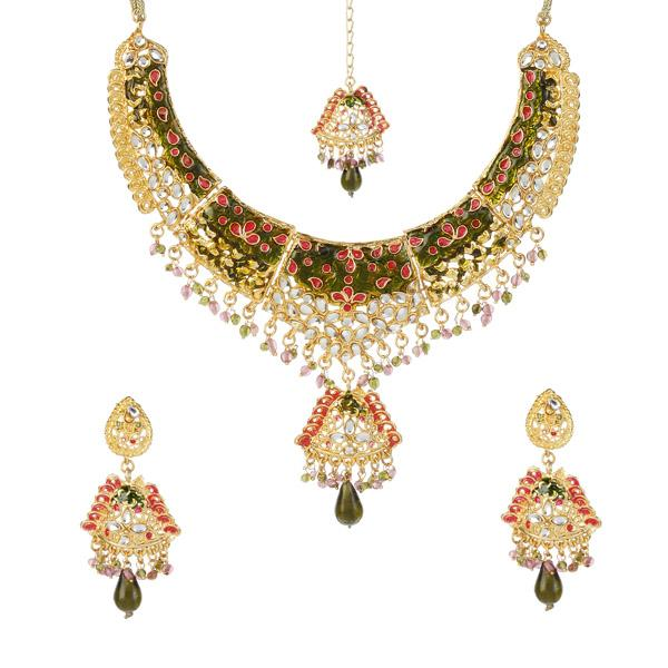 Soha Fashion  Gold Plated Necklace Set With Maang Tikka