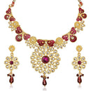 Soha Fashion Purple Meenakari Kundan Gold Plated  Necklace Set