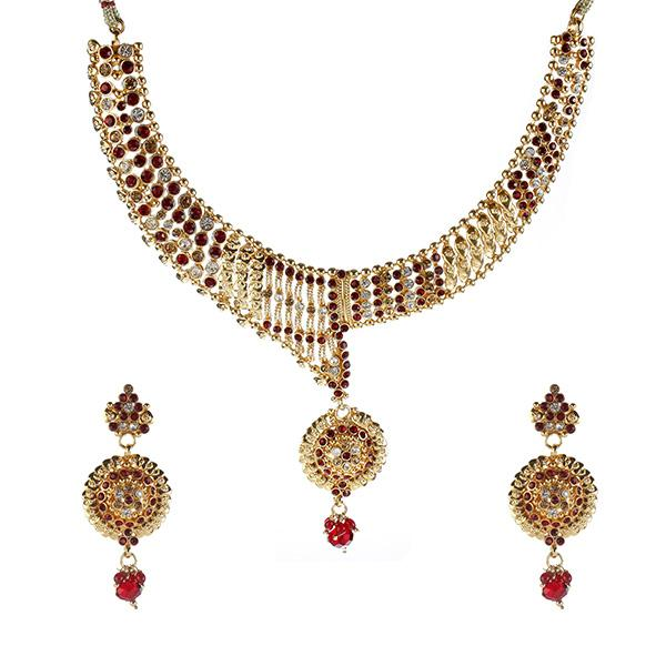 14Fashions Red Austrian Stone Gold Plated  Necklace Set - 1102121