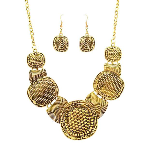 Jeweljunk Antique Gold Plated  Statement Necklace Set - 1102214
