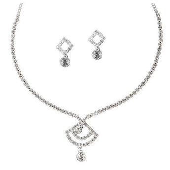 Tip Top Fashions Rhodium Plated Austrian Stone Necklace Set - 1102404