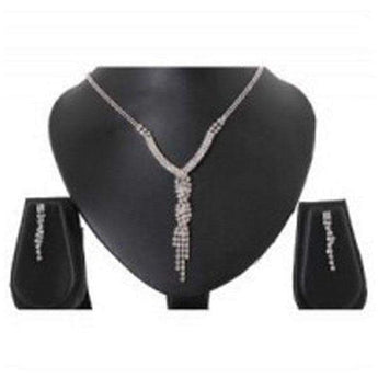 Tip Top Fashions Rhodium Plated Austrian Stone Necklace Set - 1102407