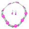 Beadside Purple Rhodium Plated Statement Necklace Set