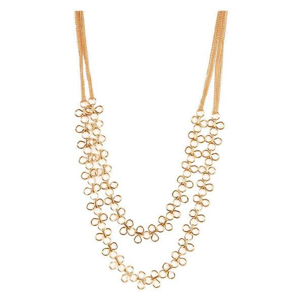 Jeweljunk 2 Line Gold Plated Necklace - 1103004