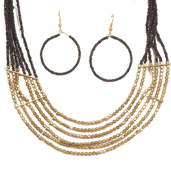 Beadside Beads Gold Black Necklace Set