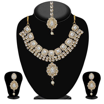 Vivant Charms Glass Stone Necklace Set With Maang Tikka - 1103620