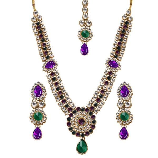 Vivant Charms Glass Stone Necklace Set With Maang Tikka - 1103632