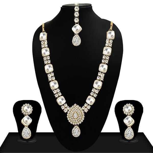 Vivant Charms Gold Plated Crystal Stone Necklace Set - 1103636
