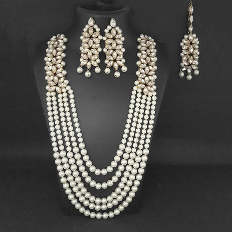 Vivant Charms Pearl Austrian Stone Necklace Set With Maang Tikka - 1103658A