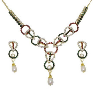 Kriaa Stone Pearl Drop Gold Plated Necklace Set - 1103705