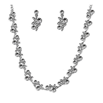 Urthn White Austrian Stone Rhodium Plated Necklace Set - 1103807