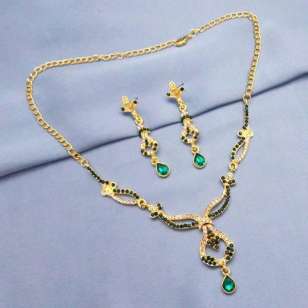 The99Jewel Gold Plated Green Stone Necklace Set