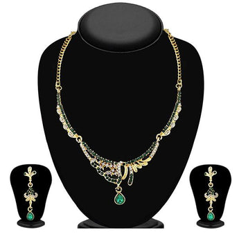 Tip Top Fashions Green Austrian Stone Gold Plated Necklace Set - 1103935