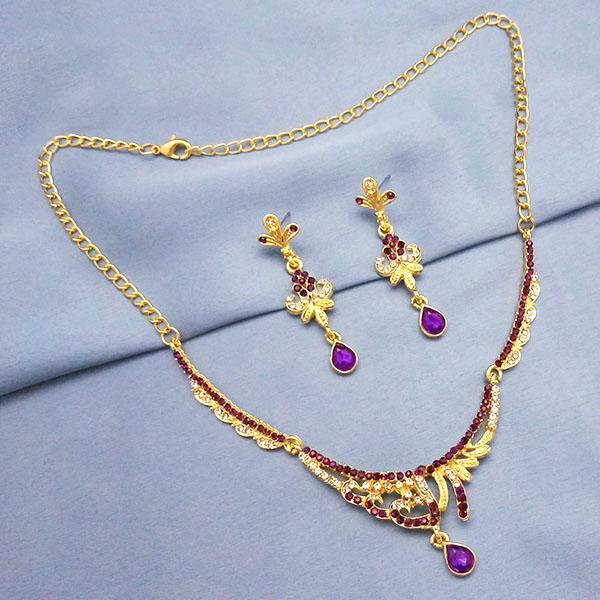 Tip Top Fashions Purple Austrian Stone Gold Plated Necklace Set - 1103936