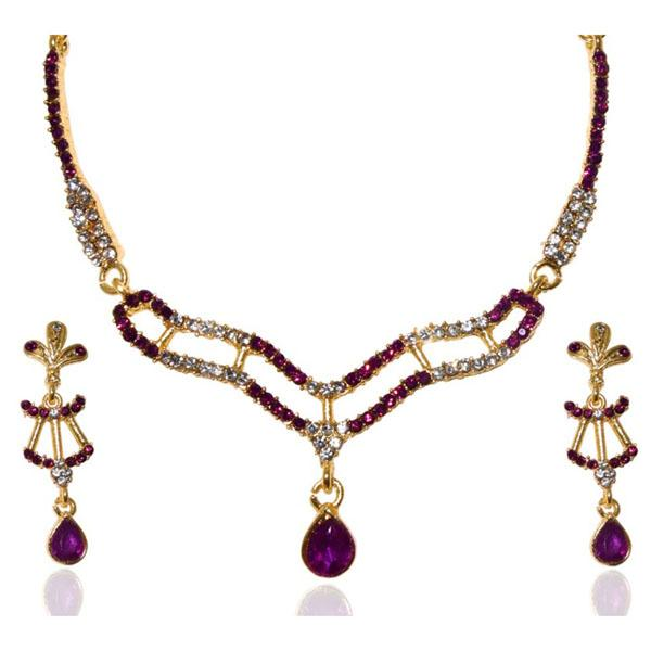 Kriaa Gold Plated Purple Austrian Stone Necklace Set
