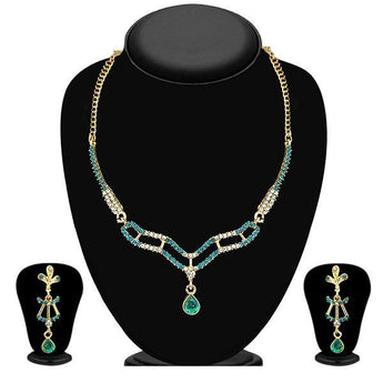 Kriaa Gold Plated Blue Austrian Stone Necklace Set - 1103941