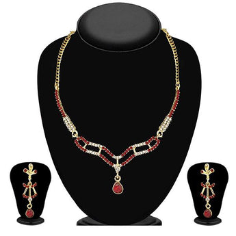 Tip Top Fashions Red Austrian Stone Gold Plated Necklace Set - 1103942