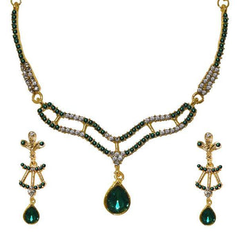 Tip Top Fashions Green Austrian Stone Gold Plated Necklace Set - 1103944