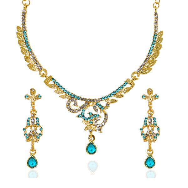 Kriaa Blue Austrian Stone Gold Plated Necklace Set - 1103947